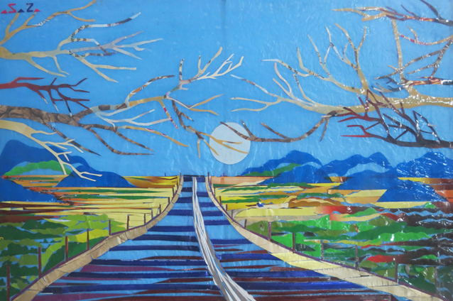 "Blue moon on the highway, by San Zaw Htway, winner of the 2014 Artraker prize and feature in ""Art of Peace"".  San Zaw Htway was arrested in April 2015 for a political installation in Yangon. He was later released. (source: http://www.dvb.no/news/artist-arrested-after-casting-new-year-curse/49999)"