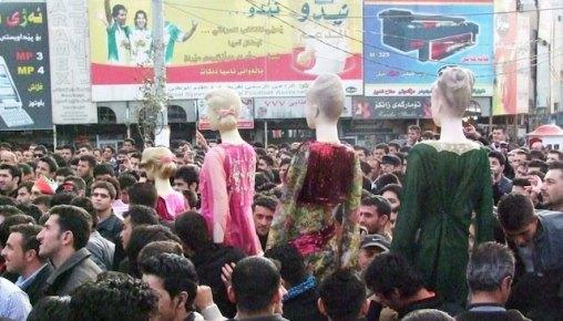 "Rozhgar Mustafa. ""Five Plastic Women Protestors"".  Source: http://www.artraker.org/rozhgar-mustafa/4578945195"